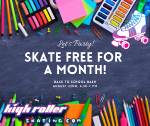 4:30-7pm Back to School Bash with FREE BONUS OFFER @ High Roller Skating Center of Eau Claire