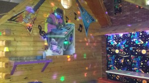 Giant DJ & rock n' roll decorations with dance lights